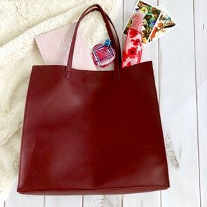 NWOT BP Large Burgundy Tote with Pouch Included